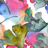 Fotografie Ginkgo biloba list rostliny Botanická zahrada květinové listy. Sada akvarel ilustrace. Akvarel, samostatný výkresu módní aquarelle. Vzor bezešvé pozadí. Fabric tapety tisku textura