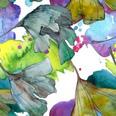 Ginkgo biloba Blatt Pflanze botanischen Garten blumiges Laub. Aquarell-Illustrationsset vorhanden. Aquarellzeichnung Modeaquarell isoliert. nahtlose Hintergrundmuster. Stoff Tapete drucken Textur.