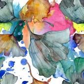 Ginkgo biloba levél növény botanikus kert virágos lombozat. Akvarell illusztráció készlet. Akvarell rajz divat aquarelle elszigetelt. Varratmentes háttérben minta. Anyagot a nyomtatási textúrát.