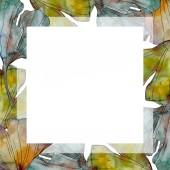 Ginko biloba list. Listy rostlin Botanická zahrada květinové listy. Sada akvarel pozadí obrázku. Akvarel, samostatný výkresu módní aquarelle. Frame hranice ozdoba náměstí