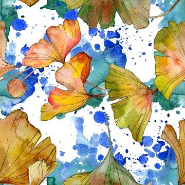 Green yellow ginkgo biloba leaf plant botanical foliage. Watercolor illustration set. Watercolour drawing fashion aquarelle isolated. Seamless background pattern. Fabric wallpaper print texture.