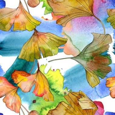 Green yellow ginkgo biloba leaf plant botanical foliage. Watercolor illustration set. Watercolour drawing fashion aquarelle isolated. Seamless background pattern. Fabric wallpaper print texture.