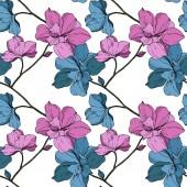Vektor modré a fialové orchideje izolované na bílém. Vzor bezešvé pozadí. Fabric tapety tisku textura
