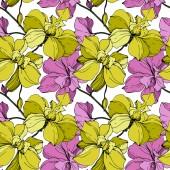Fotografie Vektor růžové a žluté orchideje izolované na bílém. Vzor bezešvé pozadí. Fabric tapety tisku textura