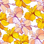 Fotografie Vector yellow orchids isolated on white. Seamless background pattern. Fabric wallpaper print texture.