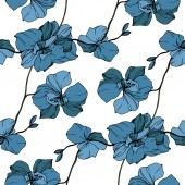 Fotografie Vector blue orchids isolated on white. Seamless background pattern. Fabric wallpaper print texture.