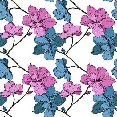 Vector blue and purple orchids isolated on white. Seamless background pattern. Fabric wallpaper print texture. clip art vector