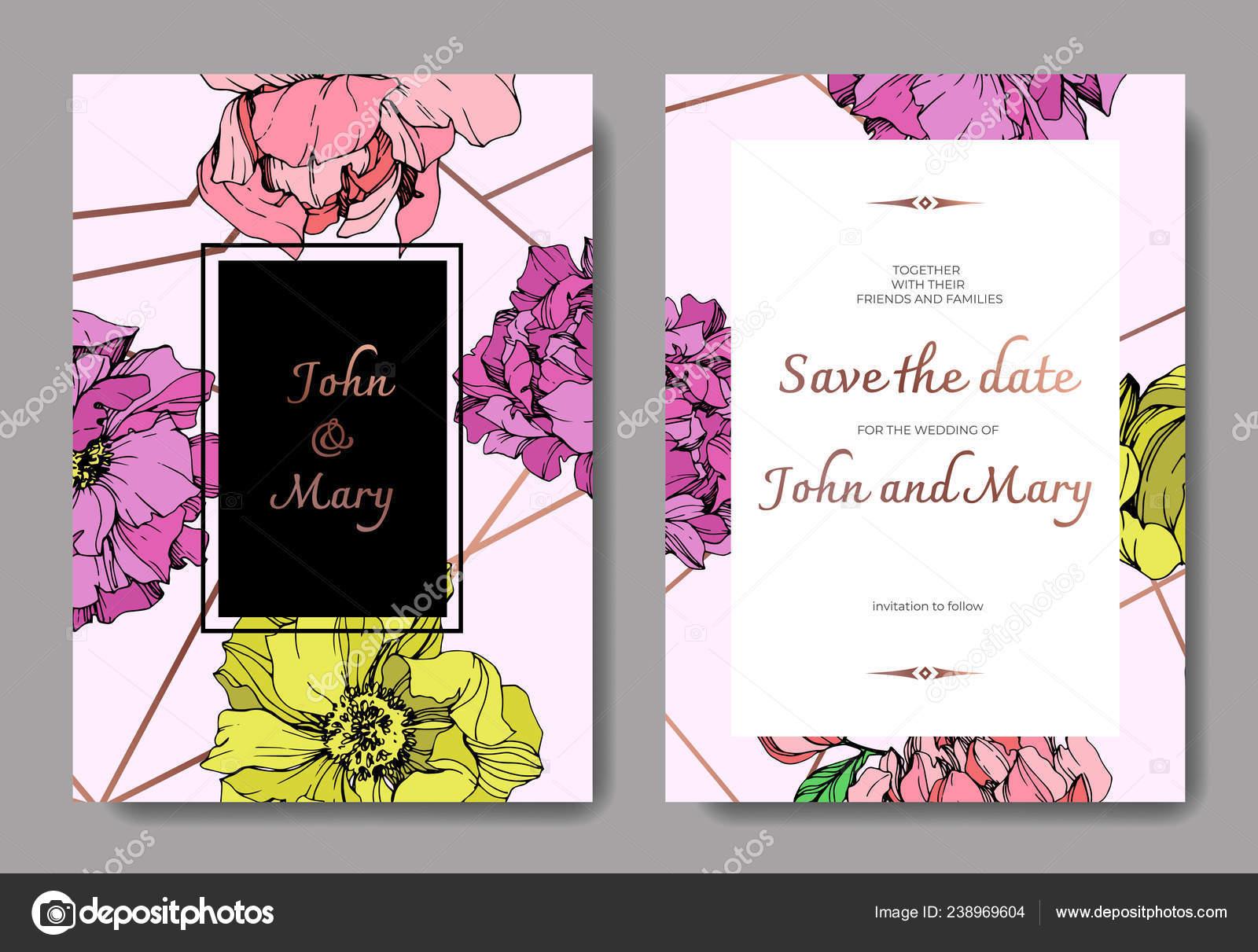 Tarjetas Invitación Elegante Vector Con Ilustración Peonías