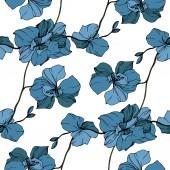 Fotografia Orchidee blu di vettore isolate su bianco. Reticolo senza giunte della priorità bassa. Stampa tessuto per tappezzeria