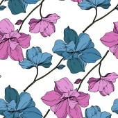 Fotografie Vector blue and purple orchids isolated on white. Seamless background pattern. Fabric wallpaper print texture.