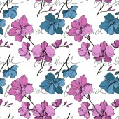 Vector blue and yellow orchids isolated on white. Seamless background pattern. Fabric wallpaper print texture.