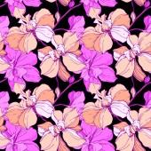 Fotografie Vektor růžové a fialové orchideje izolované na černém pozadí. Vzor bezešvé pozadí. Fabric tapety tisku textura