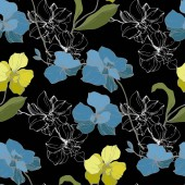 Fotografie Vektor modré a žluté orchideje izolované na černém pozadí. Vzor bezešvé pozadí. Fabric tapety tisku textura