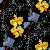 Fényképek Vektor kék és sárga orchideák elszigetelt fekete. Varratmentes háttérben minta. Anyagot a nyomtatási textúrát