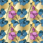 Fotografie Vector blue and yellow orchids on golden background. Seamless background pattern. Fabric wallpaper print texture.