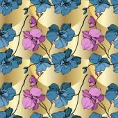 Orchidee di vettore blue e gialle su sfondo dorato. Reticolo senza giunte della priorità bassa. Stampa tessuto per tappezzeria