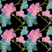 Fotografie Vector blue and yellow orchids isolated on black. Seamless background pattern. Fabric wallpaper print texture.