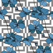 Fotografie Vector blue orchids on white geometric background. Seamless background pattern. Fabric wallpaper print texture.