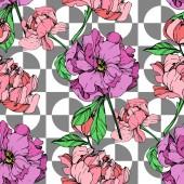 Fényképek Geometriai alapon rózsaszín és lila pünkösdi rózsa illusztráció vektor. Vésett tinta art. Varratmentes háttérben minta. Anyagot a nyomtatási textúrát