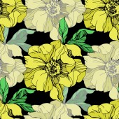 Vector yellow isolated peonies illustration on black background. Engraved ink art. Seamless background pattern. Fabric wallpaper print texture.