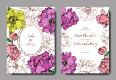 Vector elegant invitation cards with purple, yellow and golden peonies illustration on white background with save the date lettering.