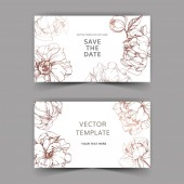Vector elegant invitation cards with golden peonies illustration on white background with save the date lettering.