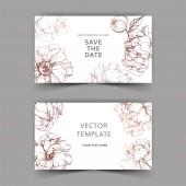 Vektor elegantní pozvánky s zlaté pivoňky ilustrace na bílém pozadí s uložit data písma.