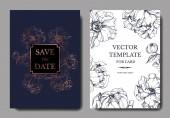 Vektor elegáns meghívók arany és kék pünkösdi rózsa illusztráció, a fehér és kék háttér mentése a dátum betűk.