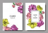Vektor elegantní pozvánky s fialové, žluté a růžové pivoňky ilustrace na bílém pozadí s uložit data písma.