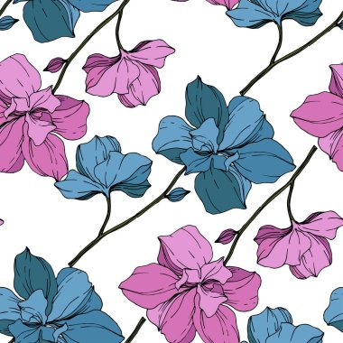 Vector blue and purple orchids isolated on white. Seamless background pattern. Fabric wallpaper print texture.