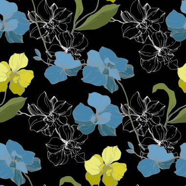 Vector blue and yellow orchids isolated on black. Seamless background pattern. Fabric wallpaper print texture. stock vector