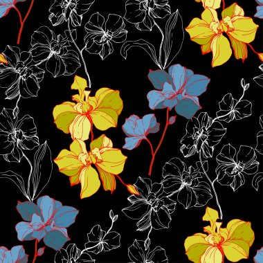 Vector blue and yellow orchids isolated on black. Seamless background pattern. Fabric wallpaper print texture.