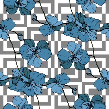 Vector blue orchids on white geometric background. Seamless background pattern. Fabric wallpaper print texture. stock vector