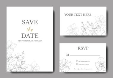 Vector silver orchids isolated on white. Invitation cards with save the date lettering