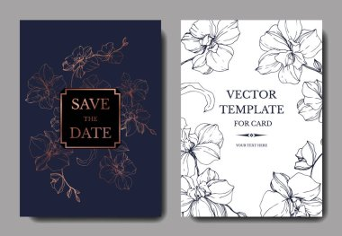 Vector blue and golden orchids isolated on white. Invitation cards with save the date lettering clip art vector