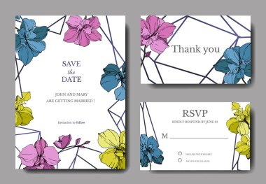 Vector blue, pink and yellow orchids isolated on white. Invitation cards with save the date lettering stock vector