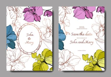 Vector blue, pink, golden and yellow orchids isolated on white. Invitation cards with save the date lettering clip art vector