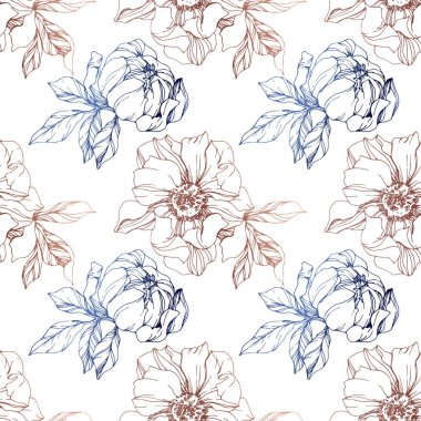 Vector blue and brown isolated peonies sketch on white background. Engraved ink art. Seamless background pattern. Fabric wallpaper print texture.