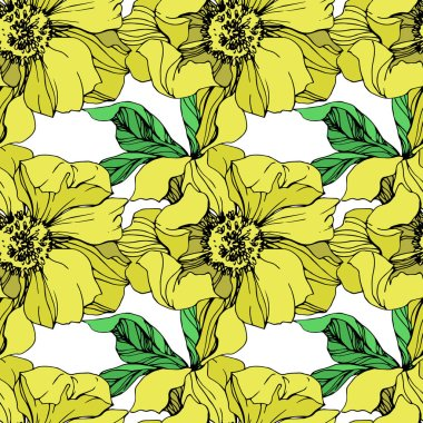 Vector yellow isolated peonies illustration on white background. Engraved ink art. Seamless background pattern. Fabric wallpaper print texture. stock vector