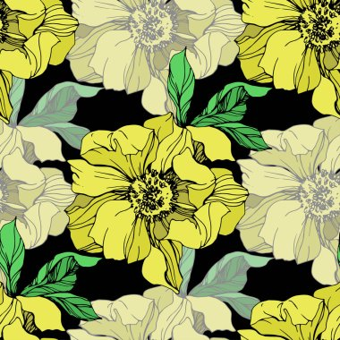 Vector yellow isolated peonies illustration on black background. Engraved ink art. Seamless background pattern. Fabric wallpaper print texture. stock vector