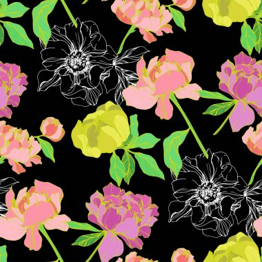Vector pink and yellow isolated peonies illustration on black background. Engraved ink art. Seamless background pattern. Fabric wallpaper print texture. stock vector