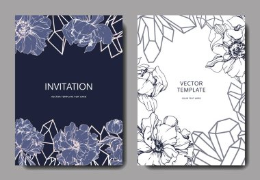 Vector wedding elegant invitation cards with crystals and peonies illustration on white and blue background.