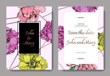 Vector elegant invitation cards with purple, yellow and pink peonies illustration on pink background with save the date lettering.