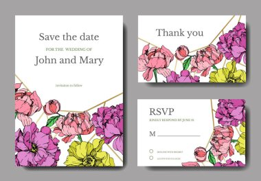 Vector elegant invitation cards with purple, yellow and pink peonies illustration on white background with save the date lettering. stock vector