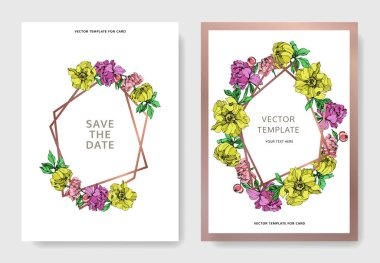Vector elegant invitation cards with purple, yellow and pink peonies illustration on white background with save the date lettering.