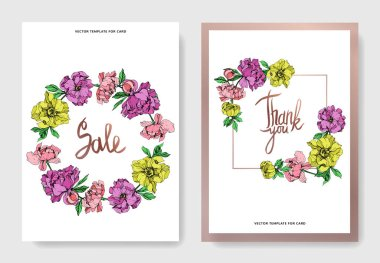 Vector elegant cards with purple, yellow and pink peonies illustration and sale and thank you lettering on white background. stock vector