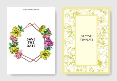 Vector elegant invitation cards with purple, yellow and pink peonies illustration on white background with save the date lettering. clip art vector