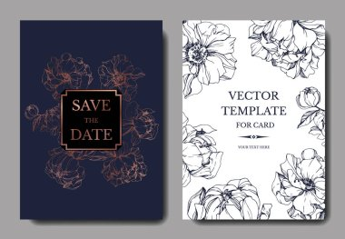 Vector elegant invitation cards with golden and blue peonies illustration on white and blue background with save the date lettering. clip art vector
