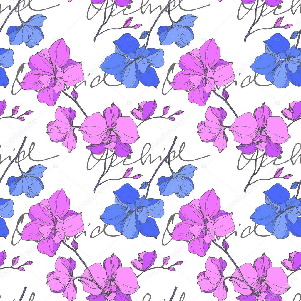 Vector blue and purple orchids isolated on white. Seamless background pattern. Fabric wallpaper print texture. clipart vector