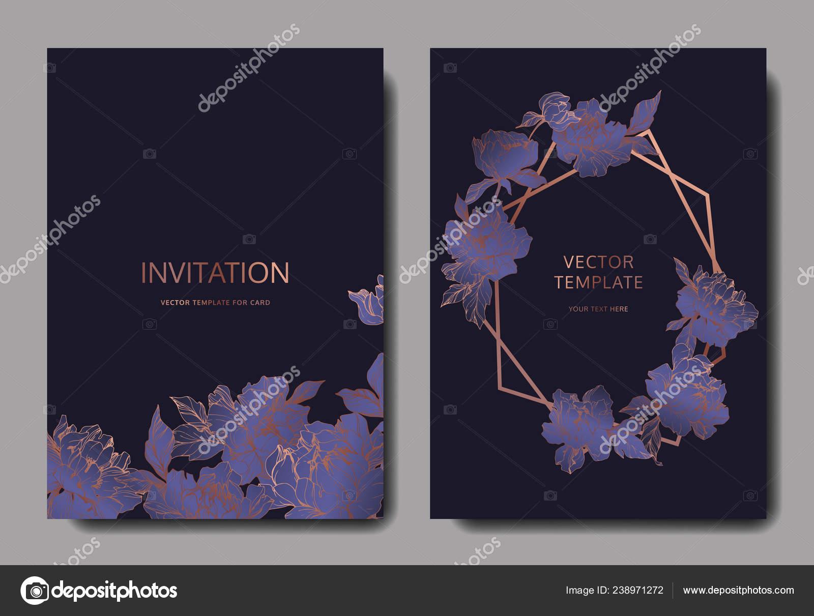 Tarjetas Invitación Elegante Boda Vector Con Peonías Color